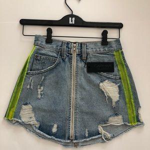 Carmar denim vinyl side insert front zip skirt